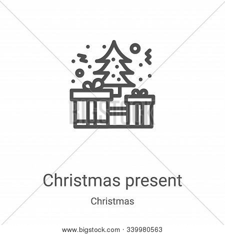 christmas present icon isolated on white background from christmas collection. christmas present ico