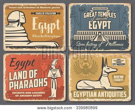 Ancient Egypt Travel Trips And Cairo Landmarks Tours Retro Vintage Posters. Vector Ancient Egypt Pha