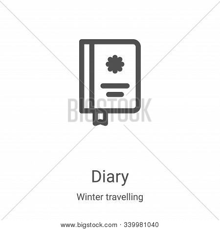 diary icon isolated on white background from winter travelling collection. diary icon trendy and mod