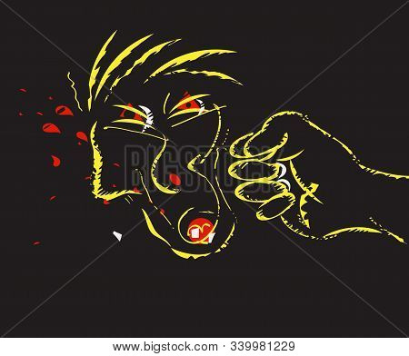 Illustration Of A Fisti Smashing The Face
