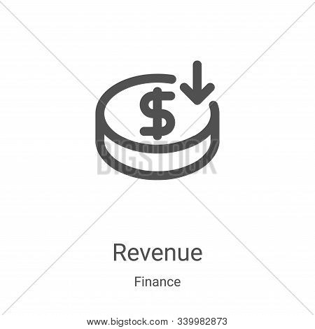 Revenue icon isolated on white background from finance collection. Revenue icon trendy and modern Re