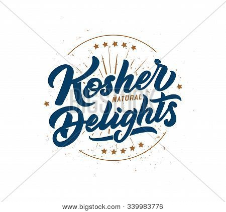 Kosher Delights Logo, Stamp, Lettering Phrase. Vector Illustration Isolated.