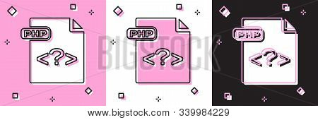 Set Php File Document. Download Php Button Icon Isolated On Pink And White, Black Background. Php Fi