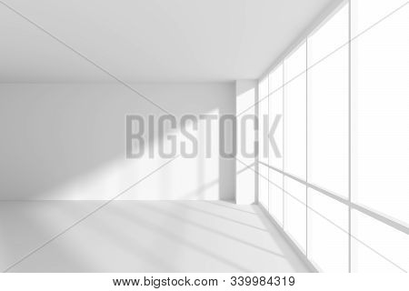 White Empty Office Business Room With White Floor, Ceiling And Walls And Sun Light From Large Window