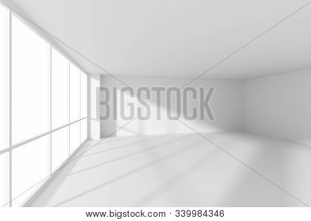 White Empty Business Office Room With White Floor, Ceiling And Walls And Sunlight From Large Windows
