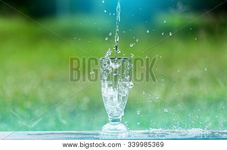 Drink Water Pouring In To Glass Over Sunlight And Natural Green Background.water Splash In Glass Sel