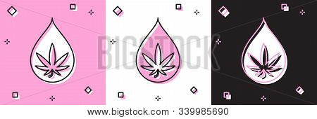 Set Medical Marijuana Or Cannabis Leaf Olive Oil Drop Icon Isolated On Pink And White, Black Backgro