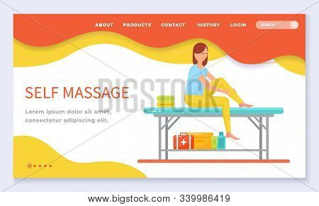 Self Massage Care And Professional Treatment Of Woman Leg In Therapy Spa Salon. Female Sitting On Ta