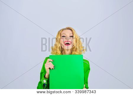 Market, Shop, Sale, Discount. Cheerful Girl Holds Advertising Board. Sign Board. Stylish Woman Holds