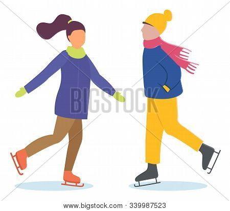 Woman And Man On Date Doing Winter Outdoor Activity. People Skating On Ice Rink Together. Lady And G