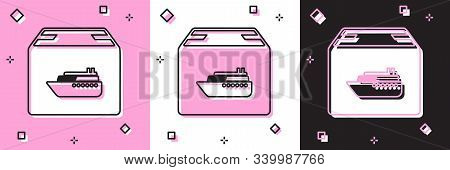 Set Cargo Ship With Boxes Delivery Service Icon Isolated On Pink And White, Black Background. Delive