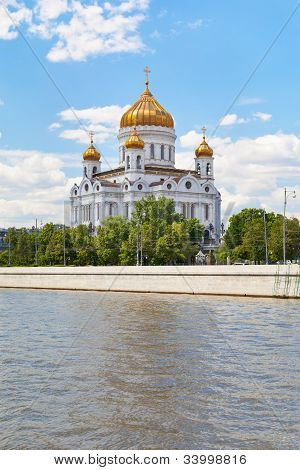 The Cathedral of Christ the Saviour under Moscow river Russia poster