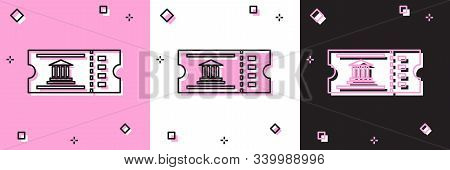 Set Museum Ticket Icon Isolated On Pink And White, Black Background. History Museum Ticket Coupon Ev