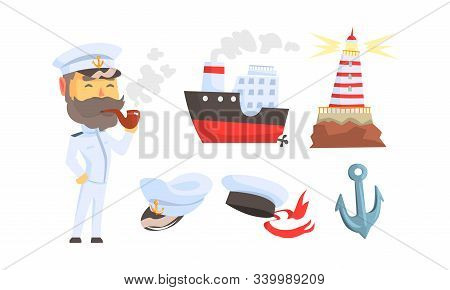 Mariner Attributes With Seaman Character Standing And Smoking Pipe Vector Set