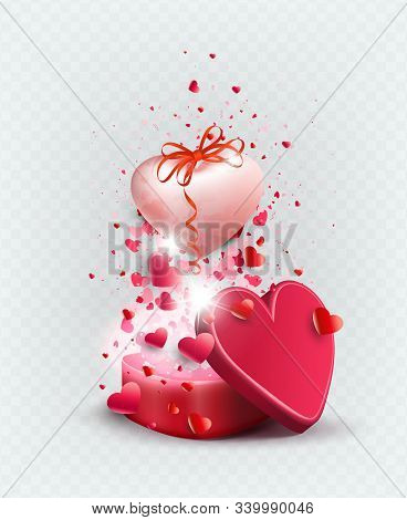 Illustration With A Red Casket And A Pink Bright Heart With A Bow, Design Element