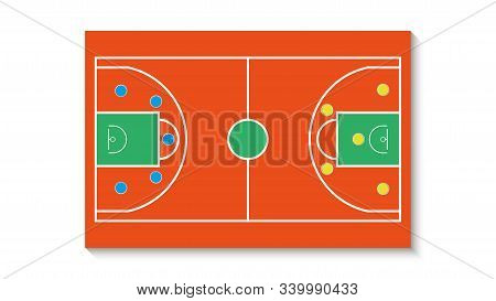 Basketball Court With A Tactical Scheme Of The Arrangement Of Players Of Two Basket Teams On The Pla