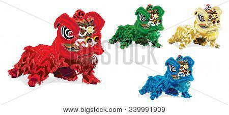 Set Of Chinese Lion Dance On White Background, The Lion Symbolizes Power, Wisdom, And Superiority In