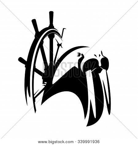 Walrus And Ship Steering Wheel - Wild Sea Animal As Ship Captain Black And White Vector Portrait
