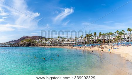 Lanzarote, Spain - October 8, 2019: Landscape With Turquoise Ocean Water On Flamingo Beach, Lanzarot