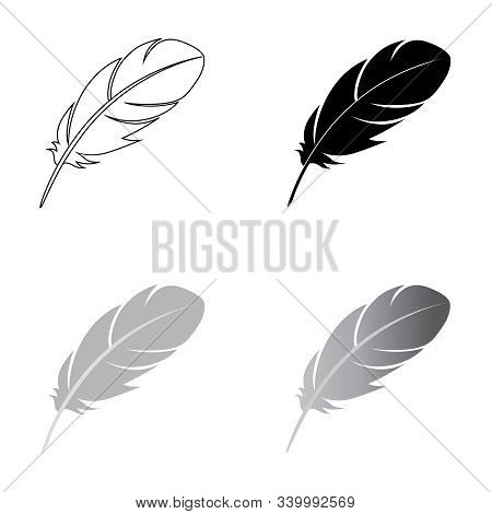 Feathers Of Birds Graphic Icons Set. Feathers Signs Isolated On White Background. Vector Illustratio