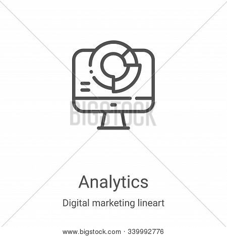 analytics icon isolated on white background from digital marketing lineart collection. analytics ico