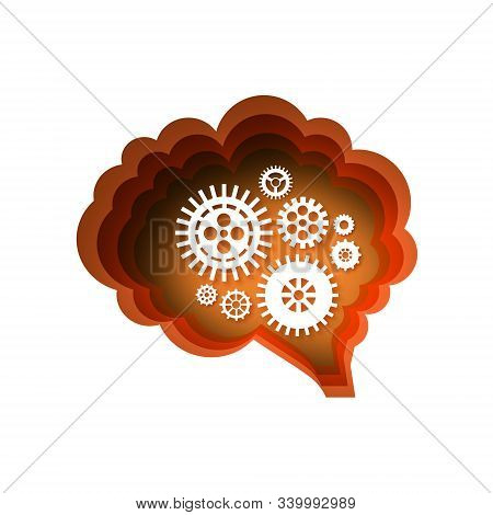 Brain, Gears And Cogs Working Together. Brainstorm Paper Cut Style. Origami Brain And Thinking Proce