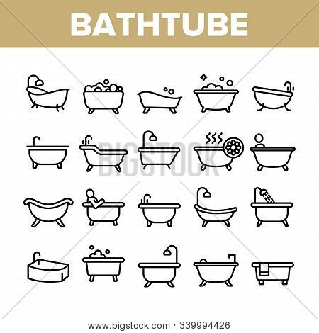Bathtube And Shower Collection Icons Set Vector Thin Line. Bathtube In Different Form, With Human An