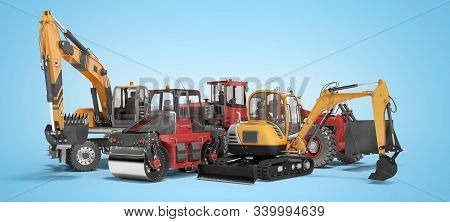 Concept Group Of Road Machinery Excavator Road Roller 3d Rendering On Blue Background With Shadow