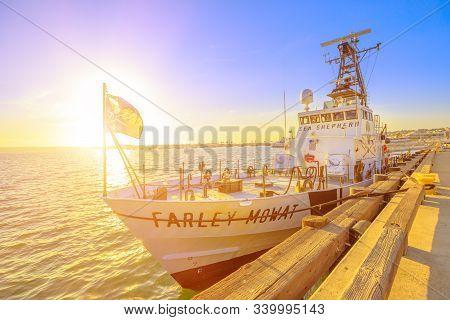 San Diego, Navy Pier, California, United States - August 1, 2018: Sunset Sun Against Jolly Roger Fla