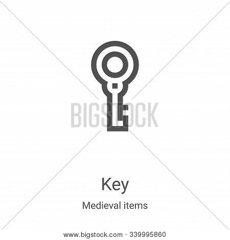 key icon isolated on white background from medieval items collection. key icon trendy and modern key
