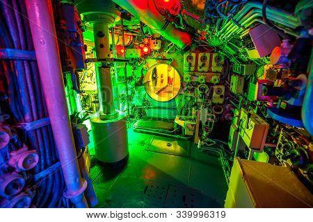 San Diego, Navy Pier, California, Usa - August 1, 2018: Engine Room Hall Of Cccp Soviet Submarine B-