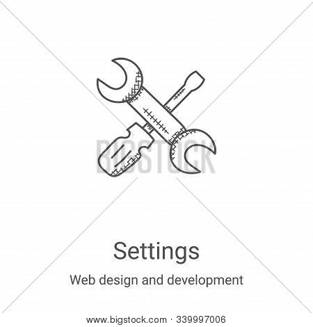 settings icon isolated on white background from web design and development collection. settings icon
