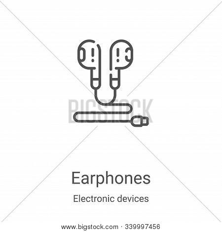 earphones icon isolated on white background from electronic devices collection. earphones icon trend
