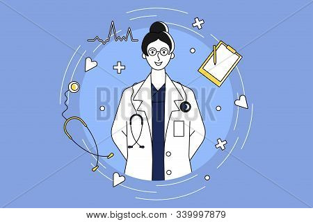 Portrait Of Female Cardiologist Doctor With Items Flying Around. Blue Background. Flat Vector.