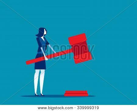 Lawyer Holding Judge Gavel. Concept Business Vector, Legal Verdict, Jurisdiction, Legislation.