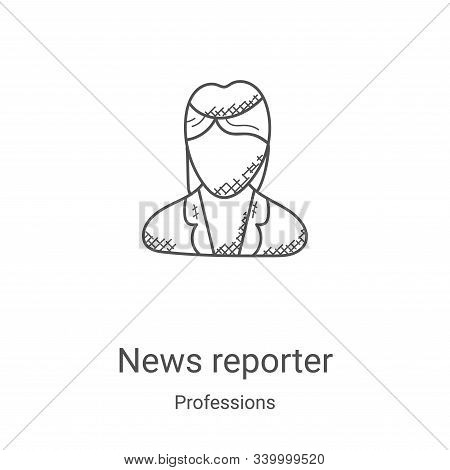 news reporter icon isolated on white background from professions collection. news reporter icon tren