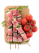 raw meat, skewers poster