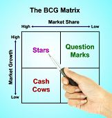 a pen pointer the BCG Matrix chart (marketing concept pointer at star) poster