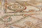 fragment of an ancient mosaic floor, with elements of color pattern,.Israel.Haifa. poster