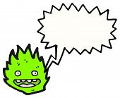 cartoon little green fire creature poster
