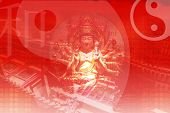Visit China in Asia Abstract Wallpaper in Red Tones poster