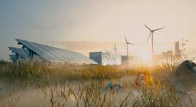 Concept Of Renewable Energy Solution In Beautiful Morning Light. Installation Of Solar Power Plant,
