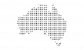 Dot Map Of Australia Composition And Solid Illustration. Vector Map Of Australia Composition Of Sphe