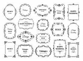 Vintage Frame Label. Ornamental Logotypes With Decorative Floral Retro Elements. Vector Antique Fram