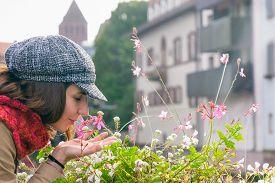 Beautiful Woman Smelling Flowers On Street. Happy People Lifestyle. Woman Smelling Flowers In Sunshi