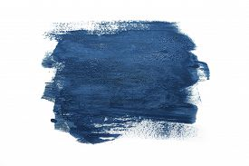 Trendy Color Of The Year 2020 Classic Blue. Sample Of Classic Blue Paint On White Isolated Backgroun