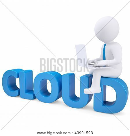 3d white man with laptop sitting on the word cloud