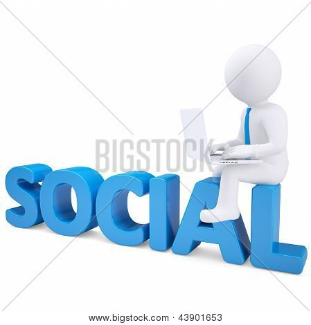 3d man with laptop sitting on the word SOCIAL
