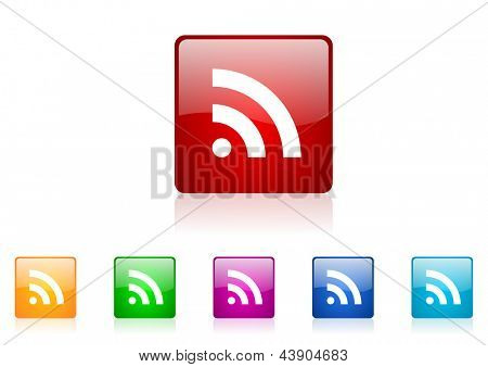 rss square web glossy icon colorful set
