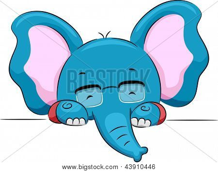 Illustration of an Elephant with Eyeglasses Holding a Blank Board